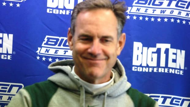 Mark Dantonio was all smiles after the Spartans took care of the Wildcats on Saturday.  Photo courtesy of Bill Marklevits.