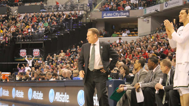Tom Izzo and the Spartans against Maryland at the 2016 B1G tournament.  Photo courtesy of Sofiya Stumpos.