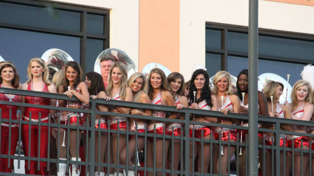 Let's hope the Alabama dance team isn't all smiles when the Cap One Bowl is over.  Photo courtesy of Bill Marklevits.