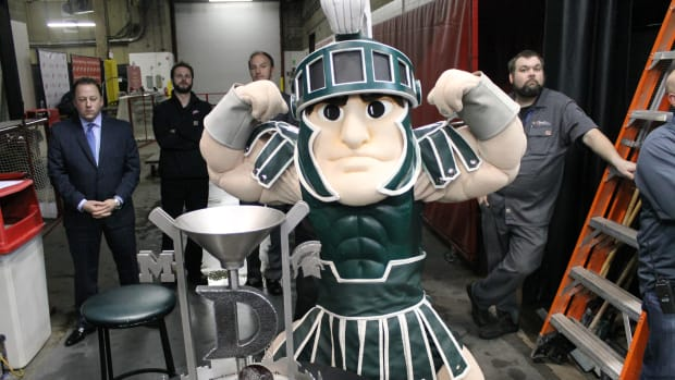 Sparty and the Iron D!  Joe Louis Arena 2016.