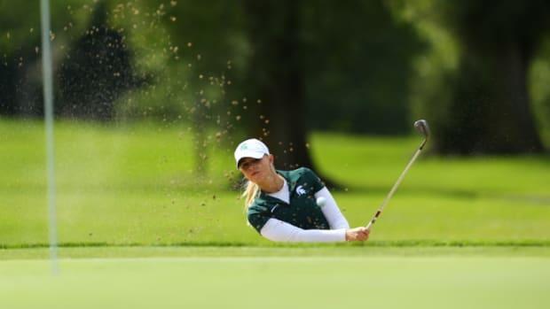 MSU women's golf 1st team All Big Ten member Sarah Burnham.  Photo courtesy of MSU SID.
