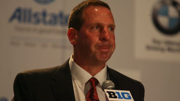 Nebraska head coach Bo Pelini at the Big Ten media days.  Photo courtesy of Bill Marklevits.