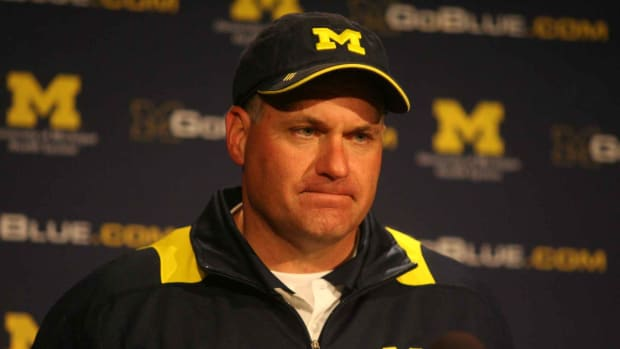 M Rod was happy when his new QB gave him his biggest win at UM.  Photo courtesy of Bill Marklevits.