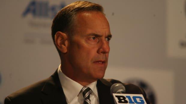 Michigan State head coach, Mark Dantonio, at the Big Ten media days.  Photo courtesy of Bill Marklevits.