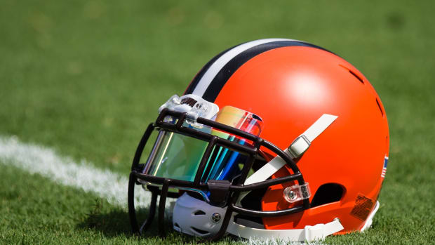 Sep 17, 2017; Baltimore, MD, USA; A Cleveland Browns helmet sits on the field before a game against the Baltimore Ravens at M&T Bank Stadium. Mandatory Credit: Patrick McDermott-USA TODAY Sports