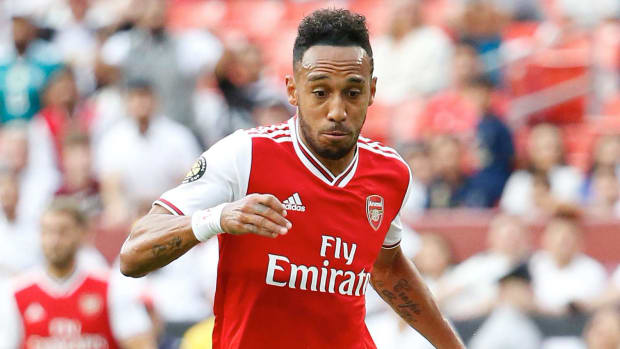 Arsenal forward Pierre-Emerick Aubameyang (14) during the first half of a match in the International Champions Cup soccer series at FedEx Field.