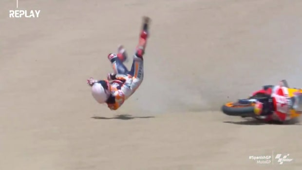 Screenshot from video of Marc Marquez's crash at Jerez