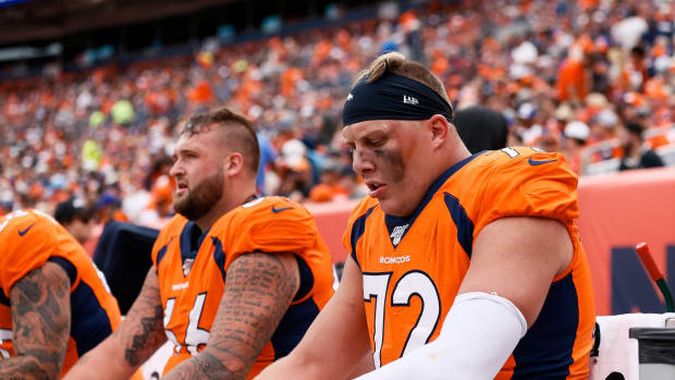 Denver Broncos offensive tackle Garett Bolles (72) on the bench in the third quarter against the Denver Broncos at Empower Field at Mile High.
