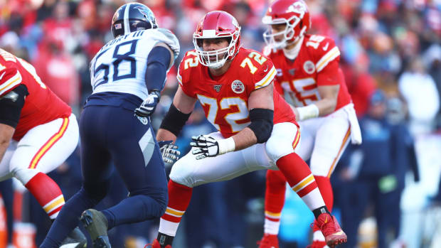 Jan 19, 2020; Kansas City, Missouri, USA; Kansas City Chiefs tackle Eric Fisher (72) against the Tennessee Titans in the AFC Championship Game at Arrowhead Stadium. Mandatory Credit: Mark J. Rebilas-USA TODAY Sports