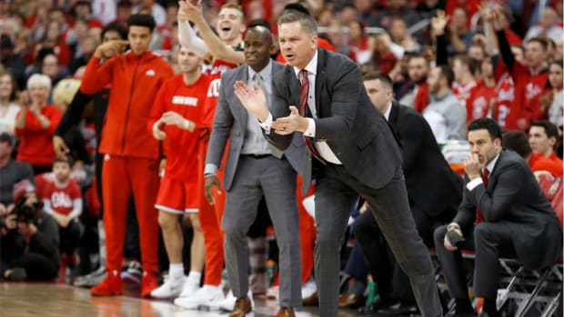 Chris Holtmann on sidelines for Ohio State Basketball