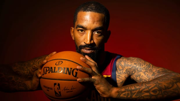 J.R. Smith poses for a portrait at media day