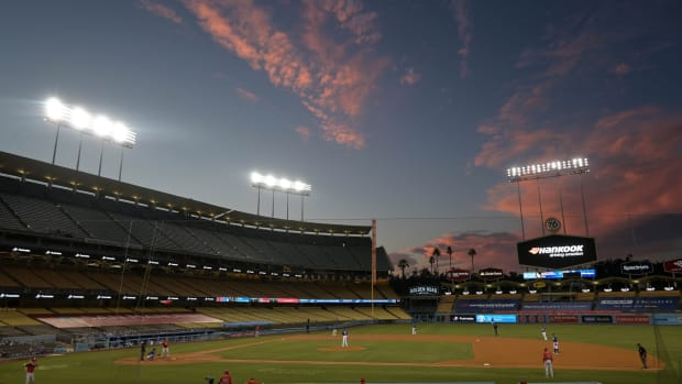 Jul 21, 2020; Los Angeles, California, USA; A general overall view of Dodger Stadium during a MLB exhibition game between the Los Angeles Angels and the Los Angeles Dodgers. Mandatory Credit: Kirby Lee-USA TODAY Sports