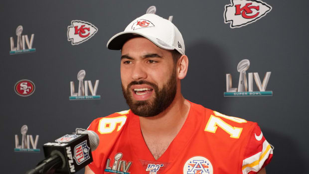 Jan 29, 2020; Miami, Florida, USA; Kansas City Chiefs offensive guard Laurent Duvernay-Tardif during a press conference for Super Bowl LIV at JW Marriott Turnberry. Mandatory Credit: Kirby Lee-USA TODAY Sports