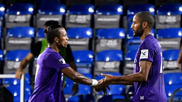 Orlando City SC forward Tesho Akindele (13) celebrates his goal with forward Nani (17) during the second half against the Montreal Impact at ESPN Wide World of Sports Complex.