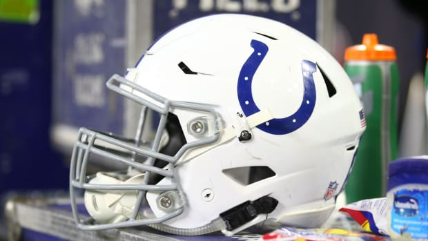 An Indianapolis Colts helmet rests on a sideline bench during the team's AFC Wild-Card playoff game at Houston in January of 2019.