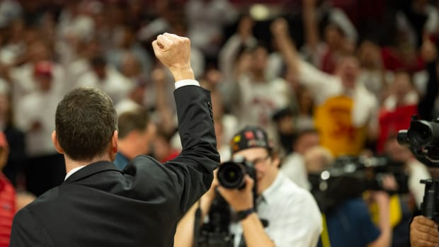 Mar 8, 2020; College Park, Maryland, USA; Maryland Terrapins head coach Mark Turgeon pumps his fist to the crowd after the game against the Michigan Wolverines at XFINITY Center. Mandatory Credit: Tommy Gilligan-USA TODAY Sports