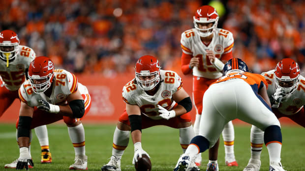 Oct 17, 2019; Denver, CO, USA; Kansas City Chiefs offensive guard Laurent Duvernay-Tardif (76) and center Austin Reiter (62) at the line of scrimmage in the first quarter against the Denver Broncos at Empower Field at Mile High. Mandatory Credit: Isaiah J. Downing-USA TODAY Sports