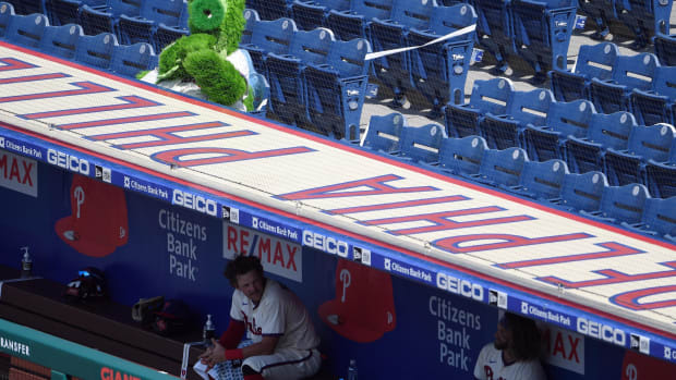 Jul 26, 2020; Philadelphia, Pennsylvania, USA; The Phillie Phanatic looks on during the game against the Miami Marlins at Citizens Bank Park. Mandatory Credit: James Lang-USA TODAY Sports