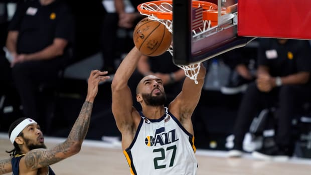 Rudy Gobert puts up a shot in the Utah Jazz's game against the New Orleans Pelicans in the NBA restart.