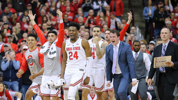 Ohio State Basketball Excited Team Shot
