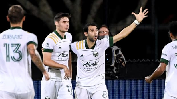 Portland Timbers midfielder Diego Valeri (8) reacts after scoring a goal during the second half against the New York City FC at ESPN Wide World of Sports Complex.