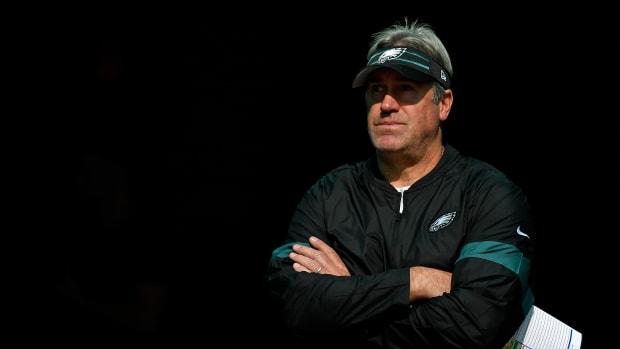 Dec 1, 2019; Miami Gardens, FL, USA; Philadelphia Eagles head coach Doug Pederson prior to a game against the Miami Dolphins at Hard Rock Stadium.