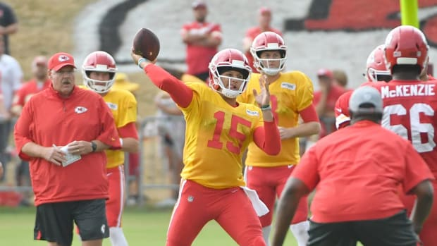 Jul 29, 2018; St. Joseph, MO, USA; Kansas City Chiefs quarterback Patrick Mahomes (15) throws a pass during training camp at Missouri Western State University. Mandatory Credit: Denny Medley-USA TODAY Sports
