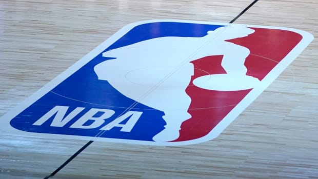A general view of the NBA logo at center court inside the Orlando bubble at the Walt Disney World Resort campus.