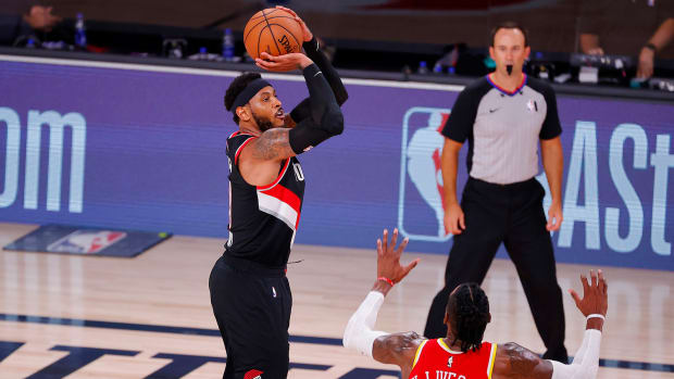 Carmelo Anthony of the Portland Trail Blazers shoots the ball during the second half against the Houston Rockets