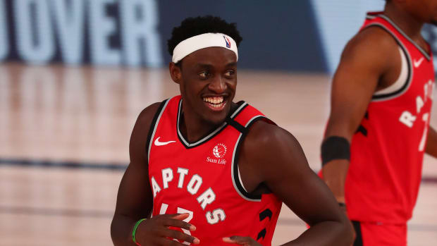 Toronto Raptors forward Pascal Siakam (43) celebrates after shooting a three pointer against the Orlando Magic in the second half during an NBA basketball game at Visa Athletic Center.