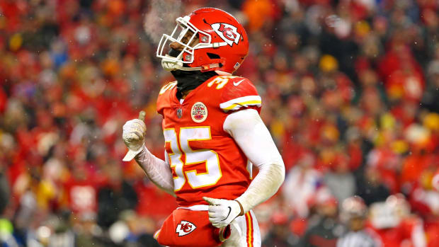 Jan 12, 2019; Kansas City, MO, USA; Kansas City Chiefs cornerback Charvarius Ward (35) dances on the field during the fourth quarter against the Indianapolis Colts in an AFC Divisional playoff football game at Arrowhead Stadium. Mandatory Credit: Jay Biggerstaff-USA TODAY Sports