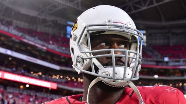 Arizona Cardinals linebacker Chandler Jones (55) looks on during the second half against the Los Angeles Rams at State Farm Stadium.
