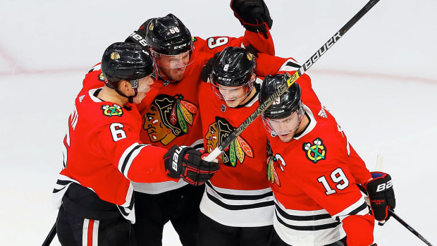 Chicago Blackhawks forward Dominik Kubalik (8) celebrates after scoring a third period goal against the Edmonton Oilers during the Western Conference qualifications at Rogers Place.