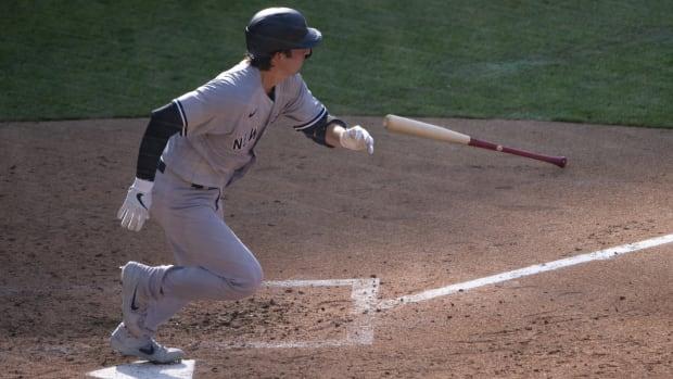 Kyle Higashioka hitting against the Phillies