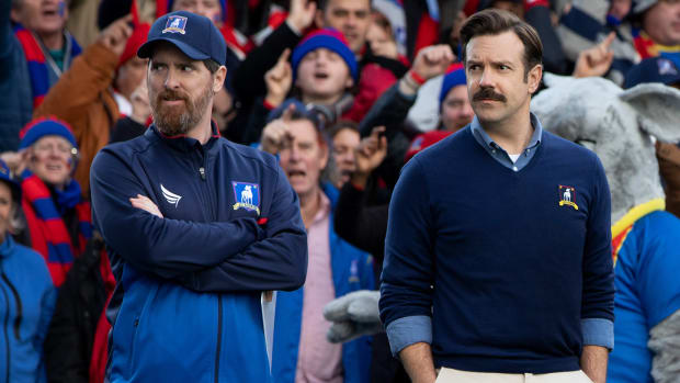 Jason Sudeikis as soccer coach Ted Lasso