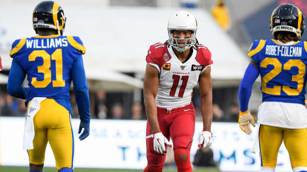 Arizona Cardinals wide receiver Larry Fitzgerald (11) during the third quarter against the Los Angeles Rams at Los Angeles Memorial Coliseum.