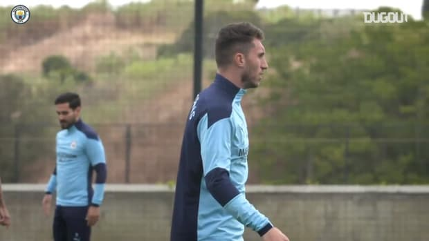 Manchester City's first training session in Lisbon