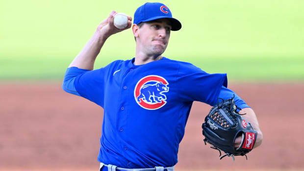 Aug 12, 2020; Cleveland, Ohio, USA; Chicago Cubs starting pitcher Kyle Hendricks (28) delivers in the second inning against the Cleveland Indians at Progressive Field.