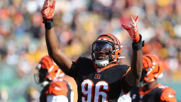 Nov 24, 2019; Cincinnati, OH, USA; Cincinnati Bengals defensive end Carlos Dunlap (96) during the first quarter against the Pittsburgh Steelers at Paul Brown Stadium. Mandatory Credit: Joe Maiorana-USA TODAY Sports