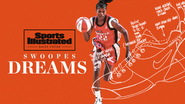 Swoopes Dreams picture of Sheryl Swoopes and a sketch of Nike's Air Swoopes