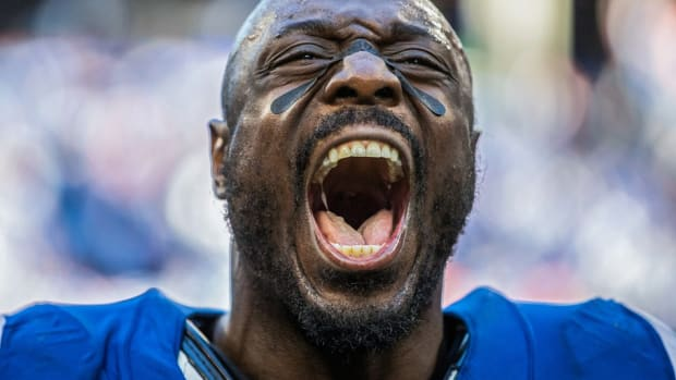 Indianapolis Colts defensive end Justin Houston is entering his 10th NFL season. In his first year with the Colts, Houston had a team-high 11 sacks in 2019.