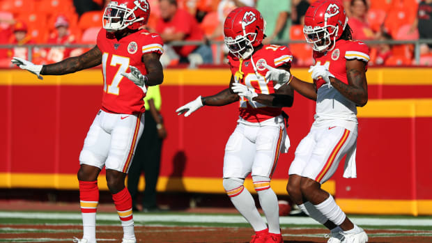 Aug 10, 2019; Kansas City, MO, USA; Kansas City Chiefs wide receiver Mecole Hardman (17) and wide receiver Tyreek Hill (10) and wide receiver Demarcus Robinson (11) dance during warmups before the game against the Cincinnati Bengals at Arrowhead Stadium. Mandatory Credit: Jay Biggerstaff-USA TODAY Sports
