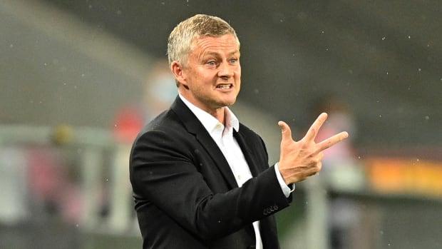 Ole Gunnar Solskjaer gestures during Manchester United's Europa League semifinal versus Sevilla