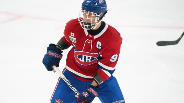 MISSISSAUGA, Ont. ÐÊToronto Jr. Canadiens forward Adam Fantilli (#91) during a game between the Hamilton Huskies and the Whitby Wildcats at the Paramount Fine Foods Centre Rink 4 on September 16, 2019 (Photo from Steven Ellis/The Hockey News)