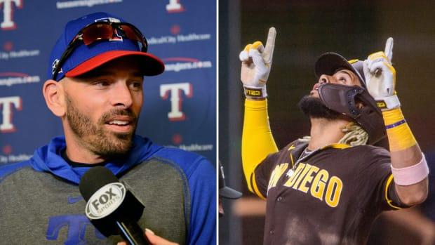 Split image of Rangers manager Chris Woodward and Padres shortstop Fernando Tatis Jr.