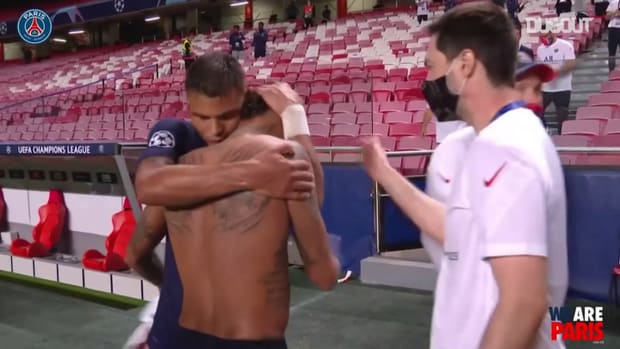 PSG celebrate after reaching their first Champions League final