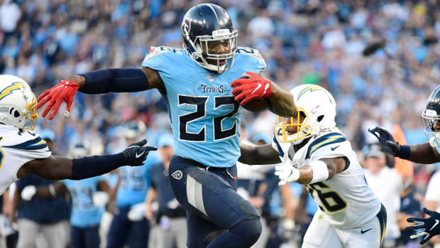Derrick Henry runs through traffic against the Chargers