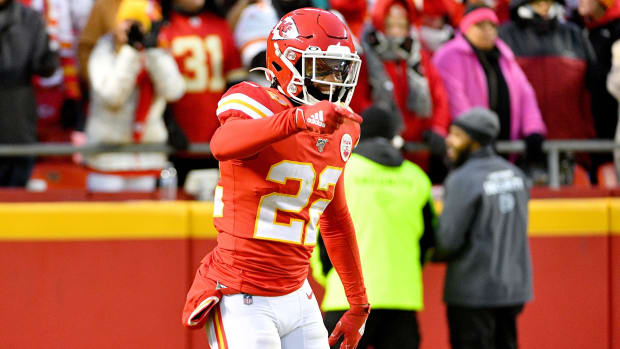 Dec 1, 2019; Kansas City, MO, USA; Kansas City Chiefs free safety Juan Thornhill (22) celebrates after running back an interception for a touchdown during the first half against the Oakland Raiders at Arrowhead Stadium. Mandatory Credit: Denny Medley-USA TODAY Sports