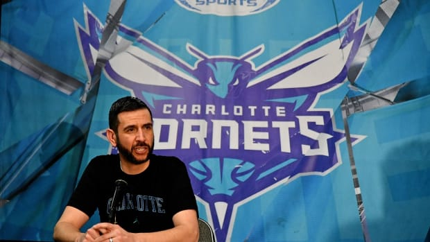 Charlotte Hornets head coach James Borrego speaks with the media prior to the game against the Miami Heat at American Airlines Arena.