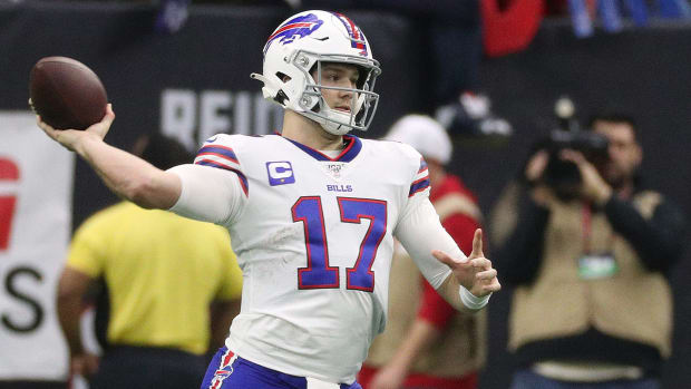 Josh Allen throws a pass for the Bills